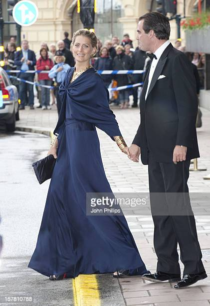 Prince Nikolaos Of Greece And Fiance Tatiana Blatnik Leave The Grand Hotel Stockholm To Attend A Government Dinner At The Eric Ericson Hall...