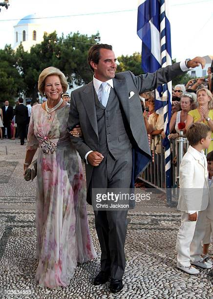 Prince Nikolaos of Greece and his mother Queen Anna-Maria of Greece arrives for his wedding to Tatiana Blatnik at the Cathedral of Ayios Nikolaos on...