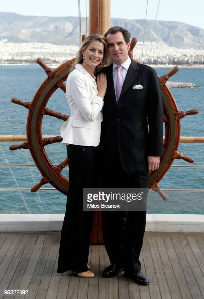 Prince Nikolaos of Greece and Ms Tatiana Blatnik during a photo call with the press following their engagement at The Yacht Club of Greece on...