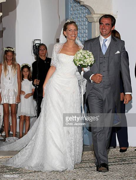 Prince Nikolaos of Greece and Princess Nikolaos of Greece and Denmark leave after getting married at the Cathedral of Ayios Nikolaos on August 25...