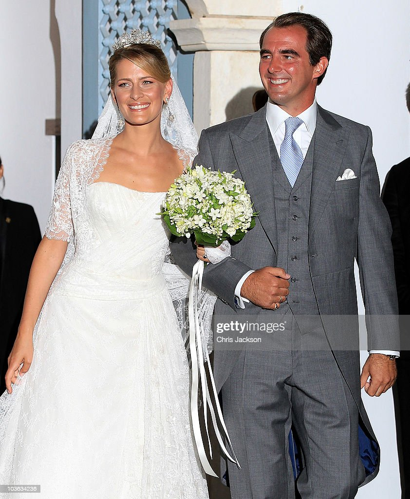 Prince Nikolaos of Greece and Princess Nikolaos of Greece and Denmark (Tatiana Blatnik) leave after getting married at the Cathedral of Ayios Nikolaos (St. Nicholas) on August 25, 2010 in Spetses, Greece. Representatives from Europe�s royal families will join the many guests who have travelled to the island to attend the wedding of Prince Nikolaos of Greece, the second son of King Constantine of Greece and Queen Anne-Marie of Greece and Tatiana Blatnik an events planner for Diane Von Furstenburg in London.