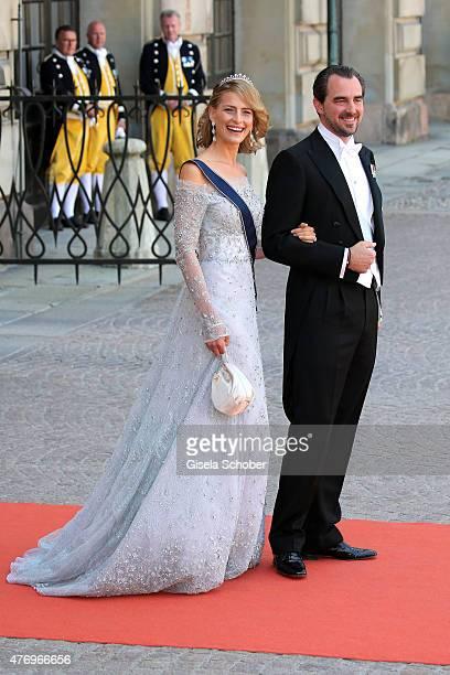 Prince Nikolaos of Greece and Princess Tatiana of Greece attend the royal wedding of Prince Carl Philip of Sweden and Sofia Hellqvist at The Royal...