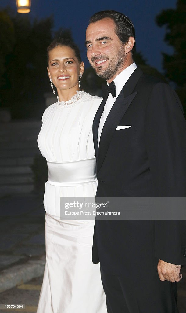 Prince Nikolaos of Greece and Princess Tatiana of Greece attend private dinner to celebrate the Golden Wedding Anniversary of King Constantine II and Queen Anne Marie of Greece at Yacht Club on September 18, 2014 in Athens, Greece.