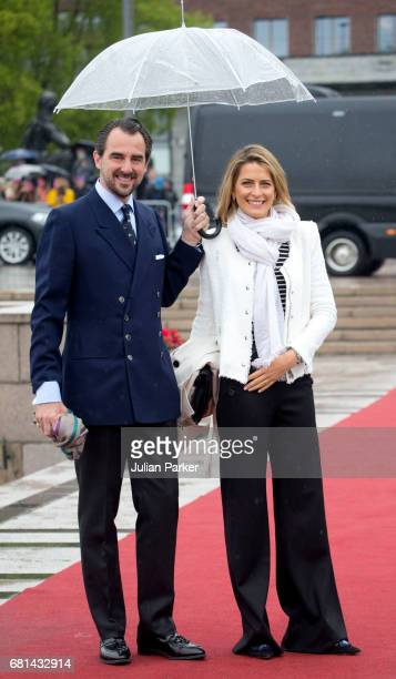 Prince Nikolaos of Greece and Princess Tatiana of Greece leave to attend a lunch on the Norwegian Royal Yacht 'Norge' as part of the celebrations of...