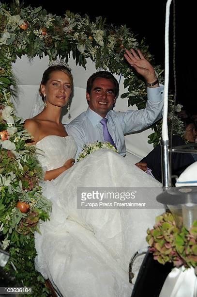 Prince Nikolaos of Greece and Tatiana Blatnik attend the wedding banquet for Prince Nikolaos of Greece and Tatiana Blatnik on August 25 2010 in...