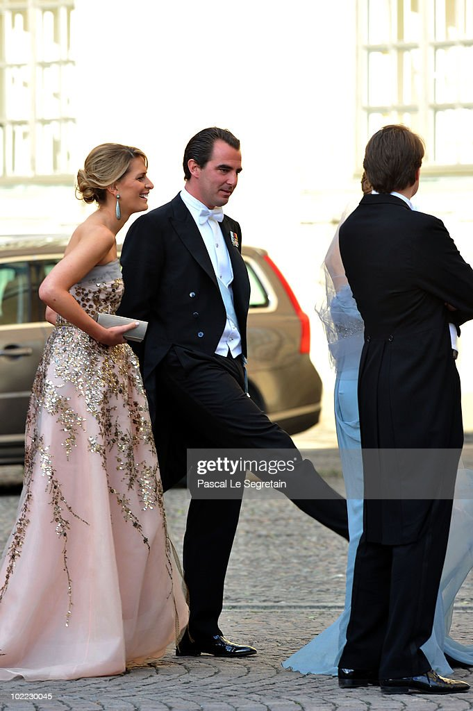 Prince Nikolaos of Greece and Tatiana Blatnik of Greece arrive to attend the Wedding Banquet for Crown Princess Victoria of Sweden and her husband prince Daniel at the Royal Palace on June 19, 2010 in Stockholm, Sweden.