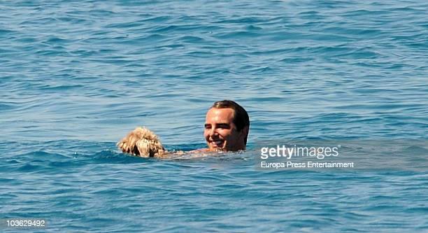 Prince Nikolaos of Greece and Tatiana Blatnik sighting on August 24 2010 in Spetses Greece