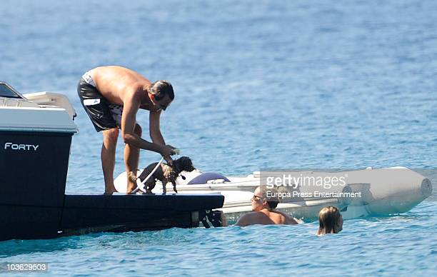 Prince Nikolaos of Greece and Tatiana Blatnik sighting with relatives and friends on August 24 2010 in Spetses Greece