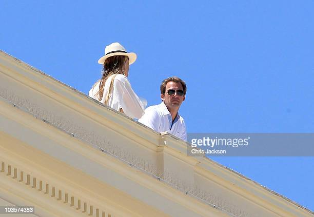 Prince Nikolaos of Greece looks over the bay from the rooftop of the Poseidon Hotel on the island of Spetses on August 24, 2010 in Spetses,...