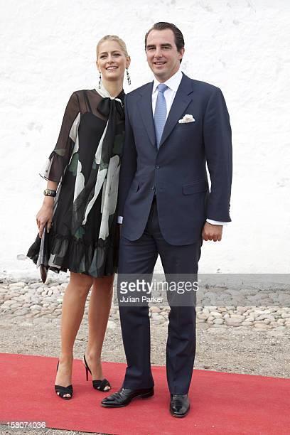 Prince Nikolaos Of Greece With Miss Tatiana Blatnik Attend The Christening Of Prince Henrik Carl Joachim Alain At Mogeltonder Church In Mogeltonder,...