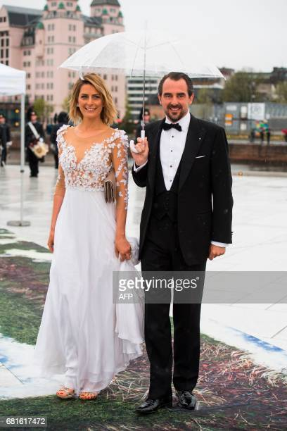 Prince Nikolaos og Princess Tatiana of Greece arrive for a gala dinner at the Operahouse in Oslo on May 10 2017 in celebration of the 80th bithdays...