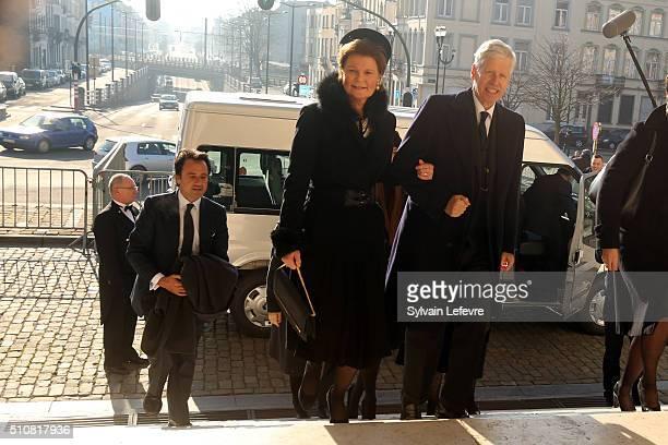 Prince Nikolaus of Liechtenstein and Princess Margaretha of Liechtenstein attend a mass at Notre Dame Church in Laeken on February 17, 2016 in...