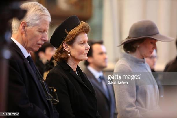 Prince Nikolaus of Liechtenstein, Princess Margaretha of Liechtenstein and Queen Mathilde of Belgium attend a mass at Notre Dame Church in Laeken on...