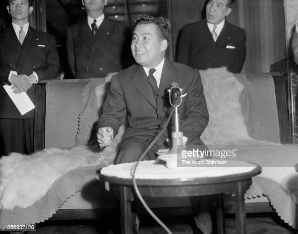 Prince Norodom Sihanouk of Cambodia attends a press conference at the State Guest House on December 5, 1955 in Tokyo, Japan.