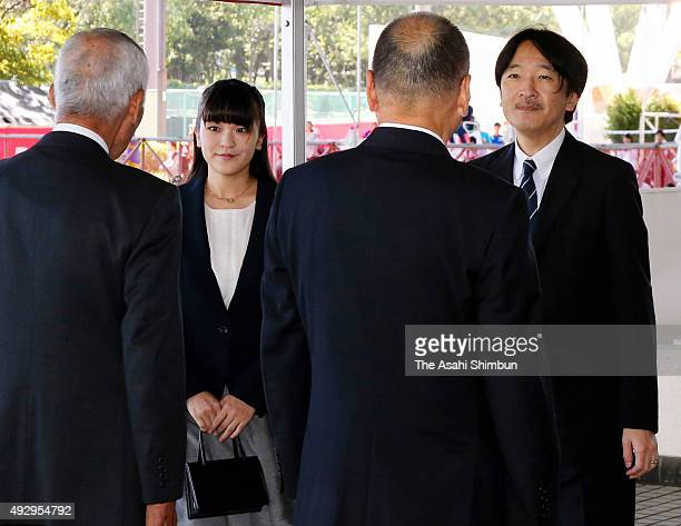 Prince of Akishino and his first daughter Princess Mako of Akihisno are seen on arrival to watch the men's singles first round match between Joao...