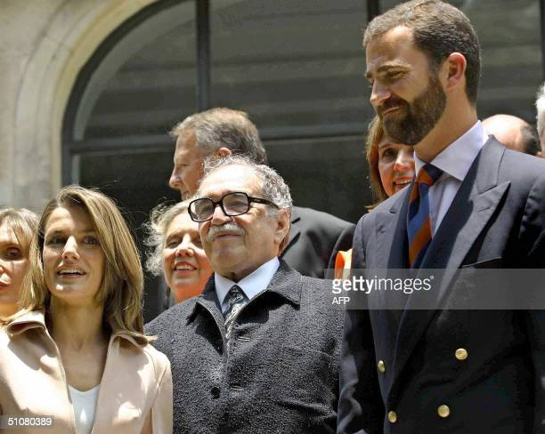 Prince of Asturias Felipe de Borbon and his wife Letizia Ortiz pose with Colombian writer Gabriel Garcia Marquez at the Spain Ambassador's house in...