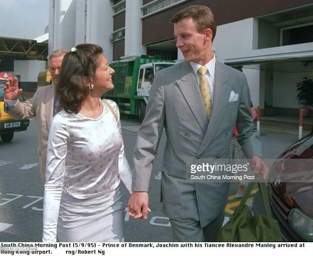 Prince of Denmark Joachim with his fiancee Alexandra Manley arrived at Hong Kong airport