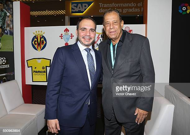 Prince of Jordan Ali Bin al Hussein and former Brazilian football player Carlos Alberto attend the Soccerex Americas Forum Mexico City Day 1 at...