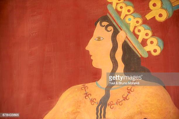 prince of lilies fresco, minoan archaeological site of knossos, crete, greek islands, greece, europe  - minoan stock photos and pictures