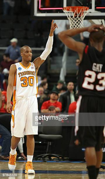 Prince of the Tennessee Volunteers celebrates the win as D.J. Gay of the San Diego State Aztecs looks on during the first round of the 2010 NCAA...
