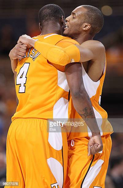 P Prince of the Tennessee Volunteers congratulates Wayne Chism after he scored a basket against the Ohio State Buckeyes during the midwest regional...