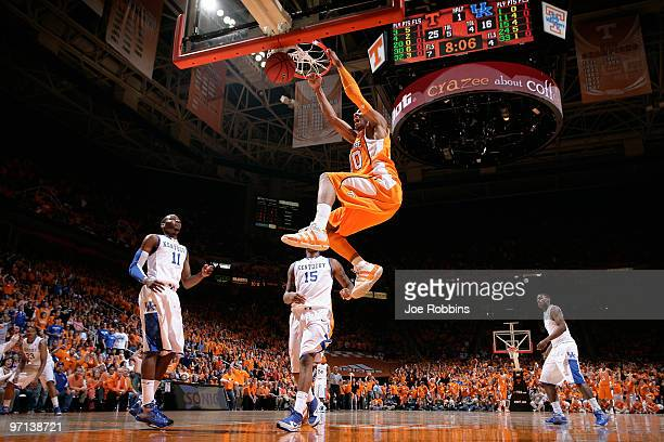 Prince of the Tennessee Volunteers slam dunks the basketball for two of his game-high 20 points against the Kentucky Wildcats at Thompson-Boling...