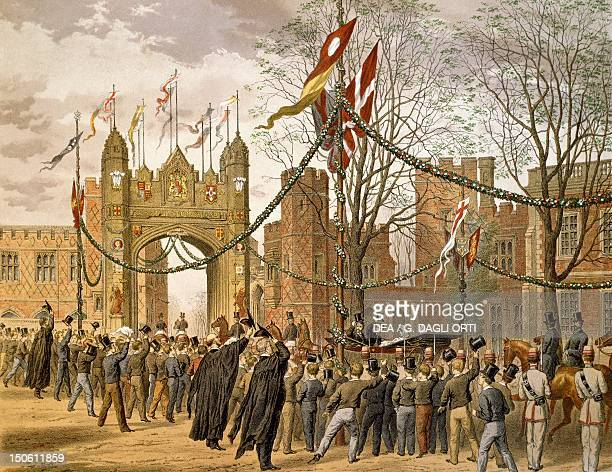 Prince of Wales and Alexandra of Denmark's wedding the procession passing Eton College Victorian age England 19th century