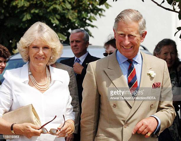 HRH Prince of Wales and HRH Duchess of Cornwall visit Rhossili village hall Middleton Gower on the second day of their summer tour of Wales July 4...
