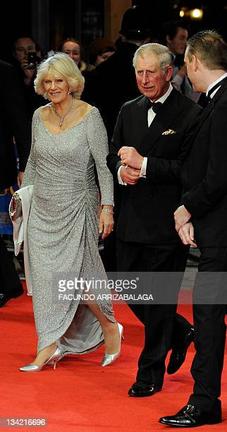 Prince of Wales Charles and Duchess of Cornwall Camila arrive to attend The Royal Film Performance Hugo in London England on November 28 2011 AFP...