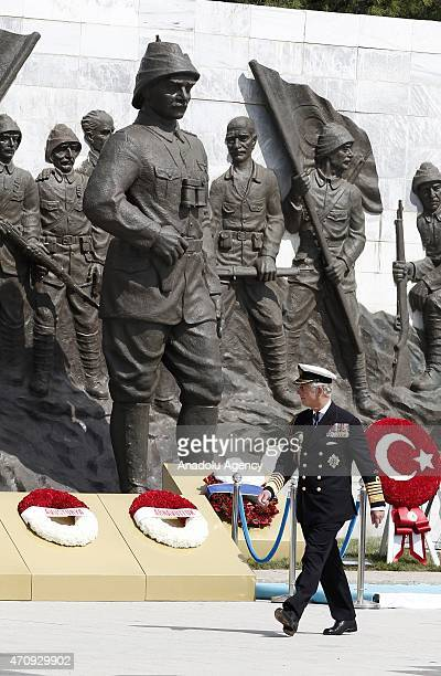 Prince of Wales Charles is seen after laying a wreath during a commemoration ceremony marking the 100th anniversary of the Canakkale Land Battles on...