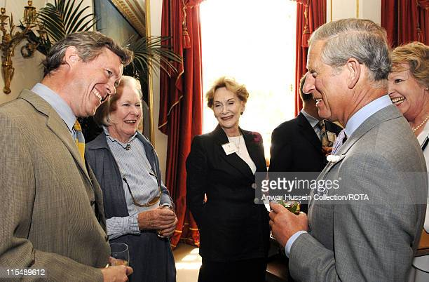 HRH Prince of Wales chats to actor Alec Jennings during a reception for the Actors Benevolent Fund at Clarence House on June 13 2007