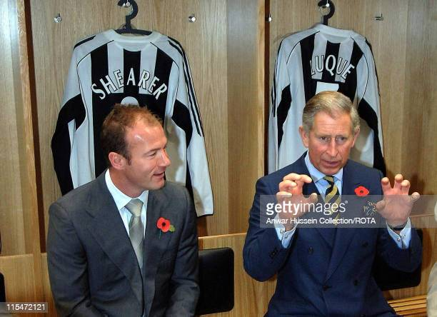 HRH Prince of Wales chats to exNewcastle United star Alan Shearer in the changing rooms during a visit to Newcastle United's St James' Park ground on...