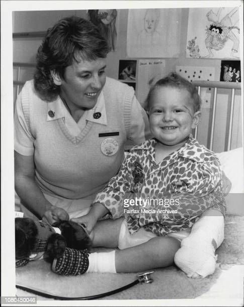 Prince of Wales Childrens Hospital Martin Willis 23 months with charge Sister Maureen Newsum November 12 1986