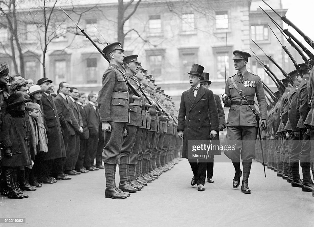 Prince of Wales (later King Edward VIII) inspecting Honourable Artillery Company Guard of Honour. 18th February 1921. : News Photo
