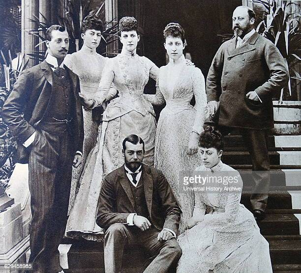 Prince of Wales later King Edward the 7th with his Daughters and sons including Prince later King George the 5th seated