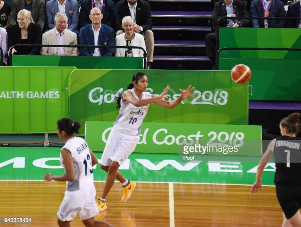 Prince of Wales second from right top during the India V New Zealand women's basketball game at the Commonwealth Games Cairns on April 8 2018 in...