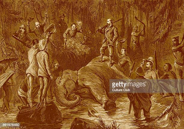Prince of Wales standing on an elephant he has killed in Ceylon during his state visit to India 1875 76 From drawing by SPHall Future Edward VII King...