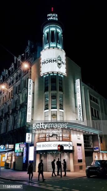 prince of wales theatre, a west end theatre in coventry street, near leicester square in london, at night. london, uk - ウェストエンド ストックフォトと画像