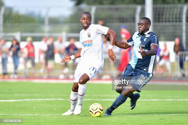 Prince Oniangue of Caen and Amos Youga of Le Havre during the preseason friendly match for the Trophee des Normands between Caen and Le Havre on July...
