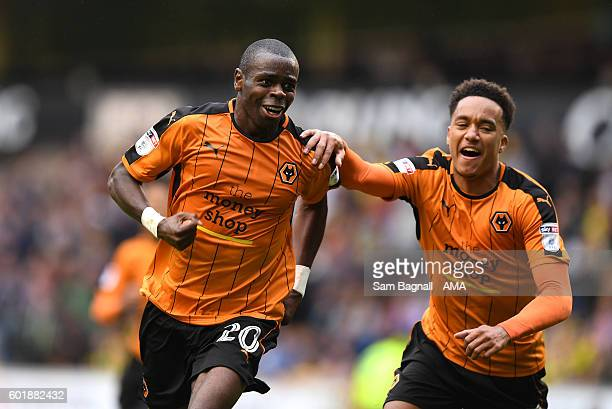 Prince Oniangue of Wolverhampton Wanderers celebrates after scoring a goal to make it 10 with Helder Costa of Wolverhampton Wanderers during the Sky...