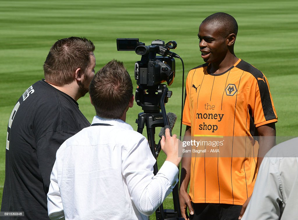 Prince Oniangue signs for Wolverhampton Wanderers on August 15, 2016 in Wolverhampton, England.
