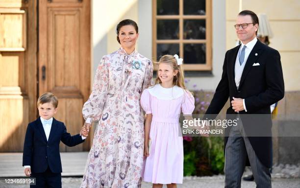 Prince Oscar, Crown Princess Victoria, Princess Estelle and Crown Prince Daniel pose for a picture after the Christening ceremony of Prince Julian at...