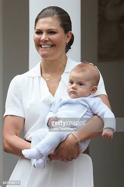 Prince Oscar of Sweden and Crown Princess Victoria of Sweden arrive for Birthday celebrations of Crown Princess Victoria of Sweden at Solliden Palace...