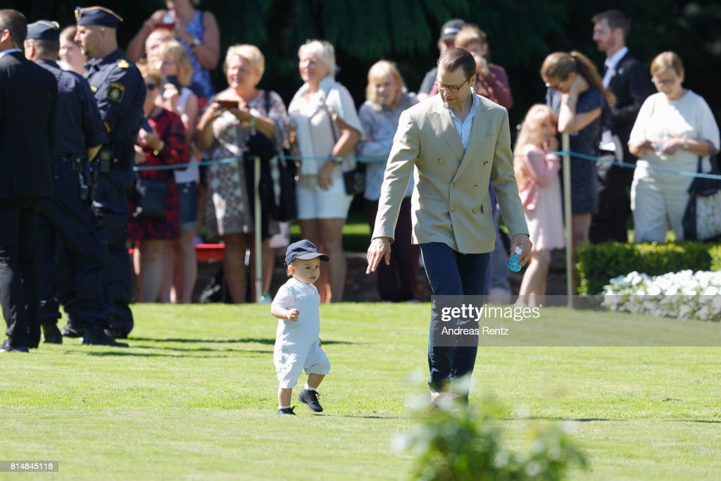 Prince Oscar of Sweden and Prince Daniel of Sweden are seen meeting the people gathered in front of Solliden Palace to celebrate the 40th birthday of Crown Princess Victoria of Sweden on July 15, 2017 in Borgholm, Sweden.