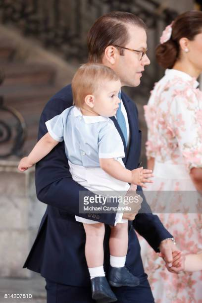 Prince Oscar of Sweden and Prince Daniel of Sweden arrive for a thanksgiving service on the occasion of The Crown Princess Victoria of Sweden's 40th...