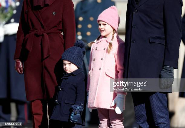 Prince Oscar of Sweden and Princess Estelle of Sweden attend the Crown Princess' Name Day celebrations at the Stockholm Royal Palace on March 12 2019...