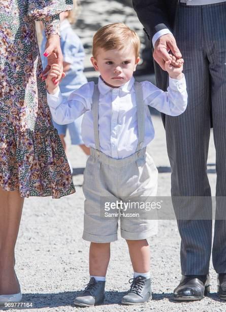 Prince Oscar of Sweden attends the christening of Princess Adrienne of Sweden at Drottningholm Palace Chapel on June 8 2018 in Stockholm Sweden