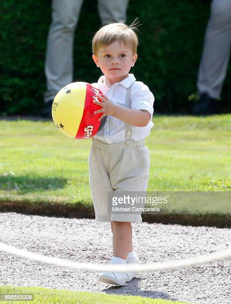 Prince Oscar of Sweden during the occasion of The Crown Princess Victoria of Sweden's 41st birthday celebrations at Solliden Palace on July 14 2018...