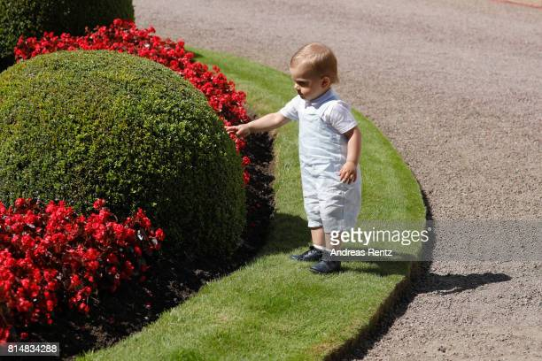 Prince Oscar of Sweden is seen exploring in front of Solliden Palace to celebrate the 40th birthday of Crown Princess Victoria of Sweden on July 15...