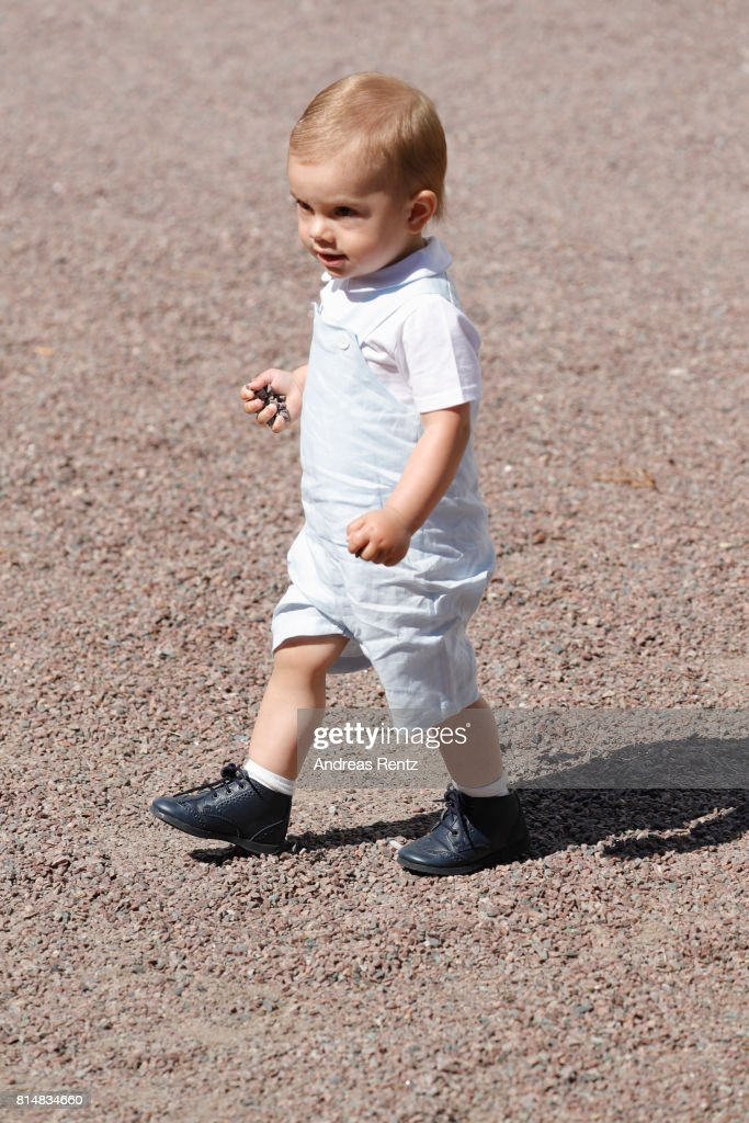Prince Oscar of Sweden is seen exploring in front of Solliden Palace to celebrate the 40th birthday of Crown Princess Victoria of Sweden on July 15, 2017 in Borgholm, Sweden.